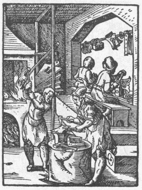 Der Kupferstich zeigt Schlosser bei der Arbeit im 16. Jahrhundert.