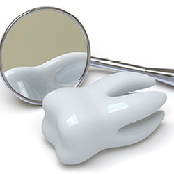 Illustration: Ein Backenzahn mit Wurzeln liegt vor einem Zahnarztspiegel.